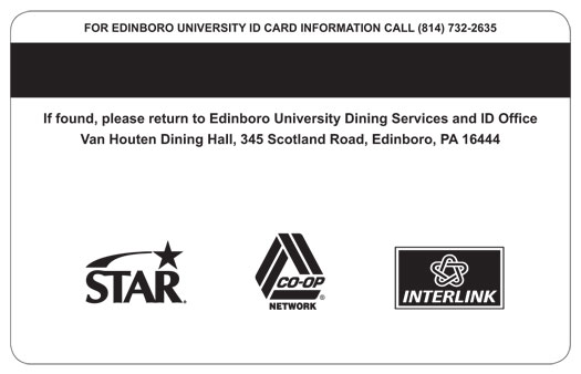 eidinboro university star co-op interlink card